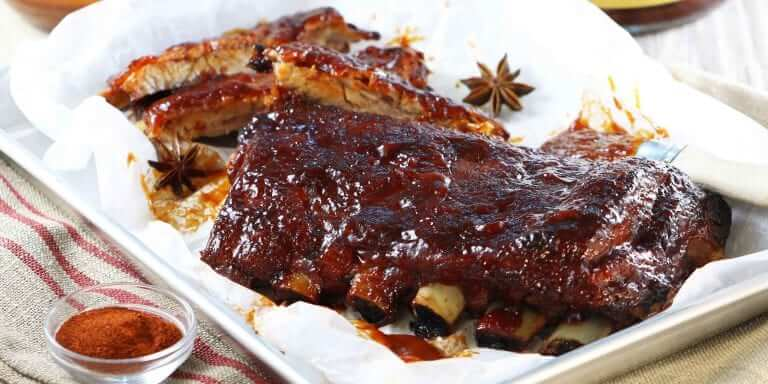 Sticky Ribs with Bourbon Barbeque Glaze