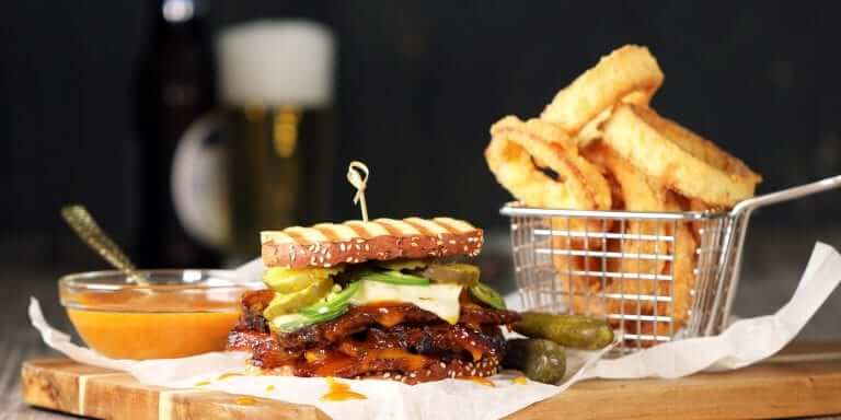 Carolina BBQ Brisket Sandwich with Parmesan Onion Rings