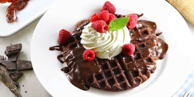 Chocolate Waffles with Candied Bacon and Chocolate Sauce