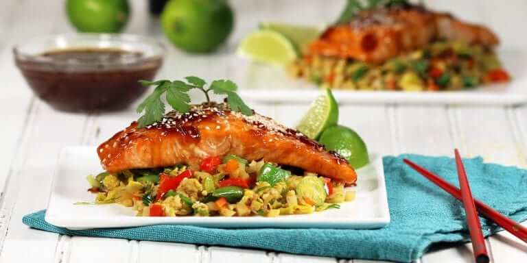 Teriyaki Glazed Salmon with Cauliflower Fried Rice