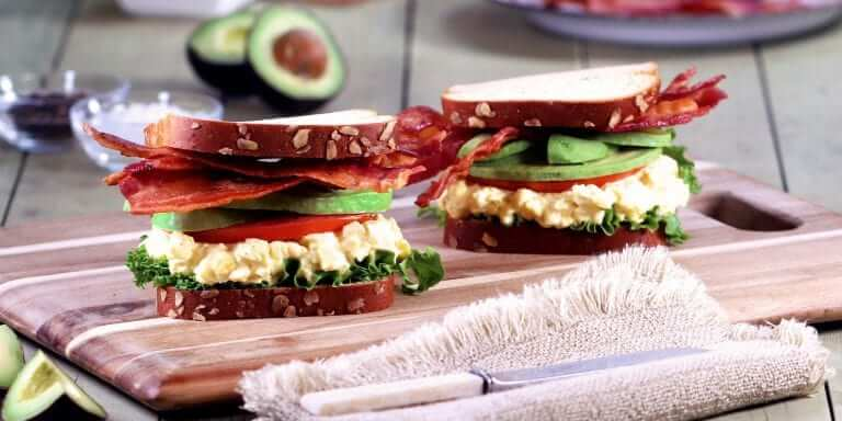 Egg Salad, Bacon, and Avocado Sandwich