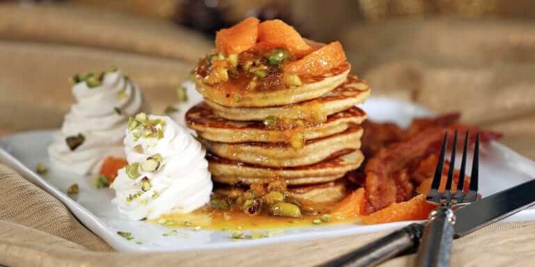 Festive, Spiced, Orange-Pistachio Pancakes
