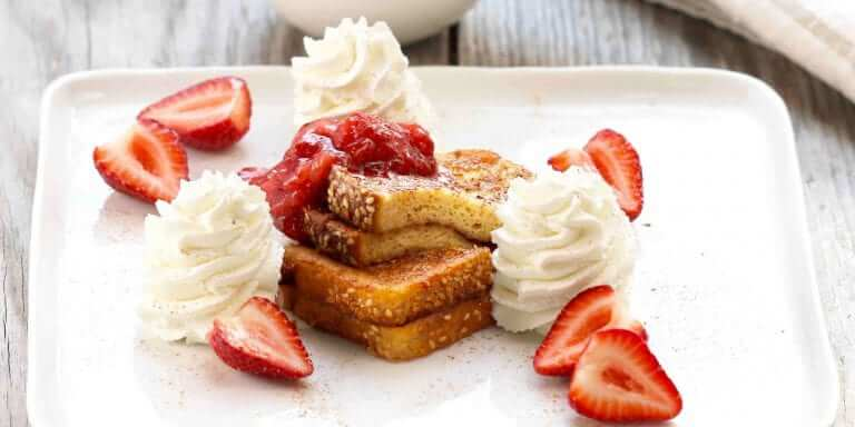 Cinnamon French Toast with Strawberry-Rhubarb Compote