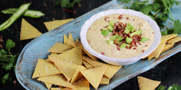 Low-Carb Tortilla Chips with Spicy Pancetta Queso