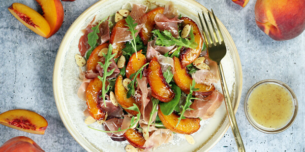Roasted Peach & Prosciutto Salad