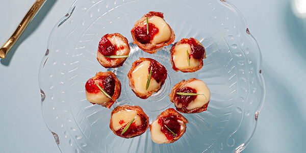 Melty Brie, Cranberry & Prosciutto Tartlets