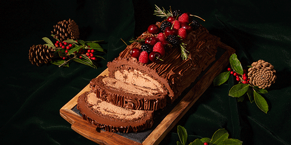 Holidays Yule Tide Log, with Chocolate Mousse Filling