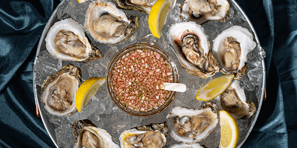 Classic Mignonette Oysters with Low-Carb Rosemary Crackers