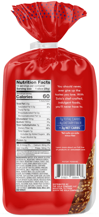 SOLA Golden Wheat Bread Reverse Nutritional Panel