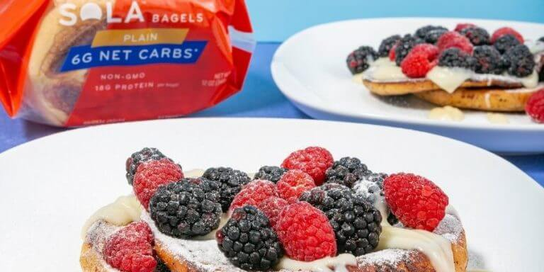 Low Carb Bagel French Toast with Berries & Cream Cheese Glaze